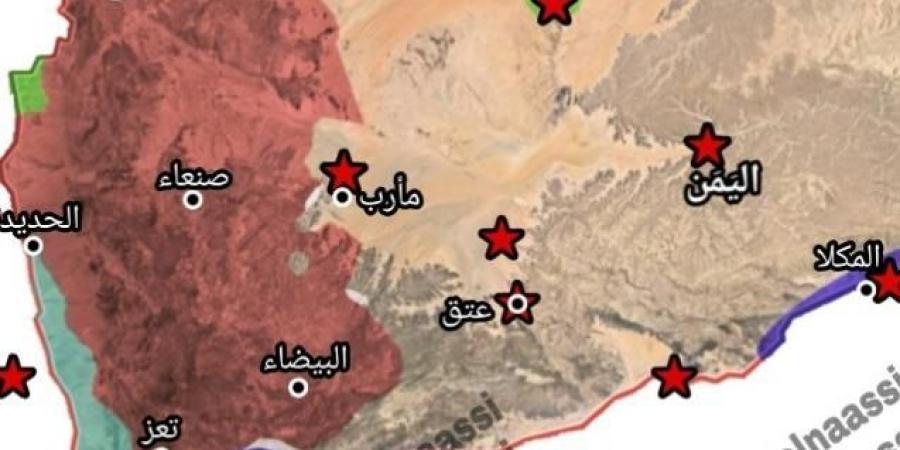 خارطة جديدة تكشف المساحة التي يسيطر عليها كل طرف في الصراع العسكري باليمن